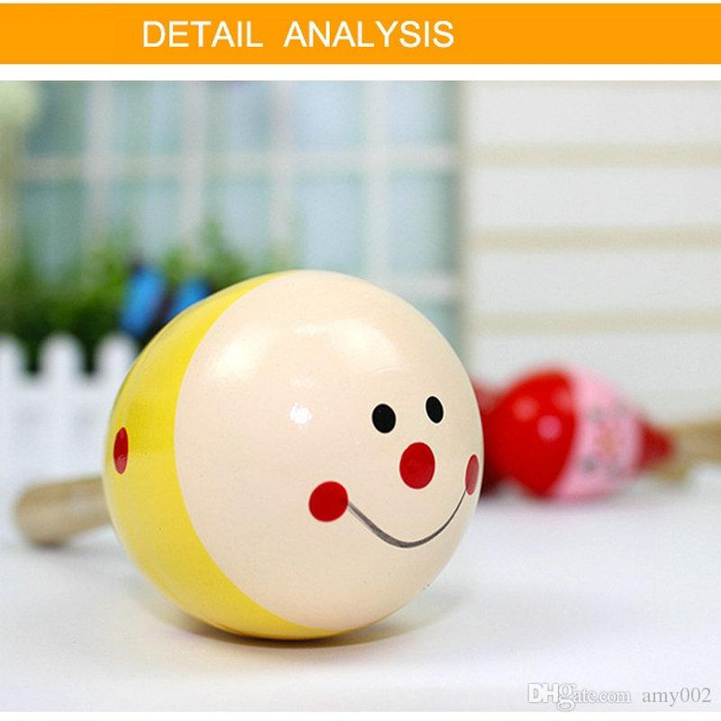 HOT DHL Baby Wooden Toy Rattle Baby cute Rattle toys Orff musical instruments Educational Toys baby Sand ball sand hammer 12-20cm