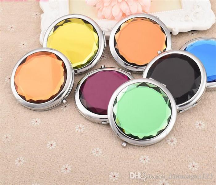 es cosméticos espejos compactos de cristal de aumento de múltiples colores maquillaje herramientas espejo espejo de la boda regalo X038