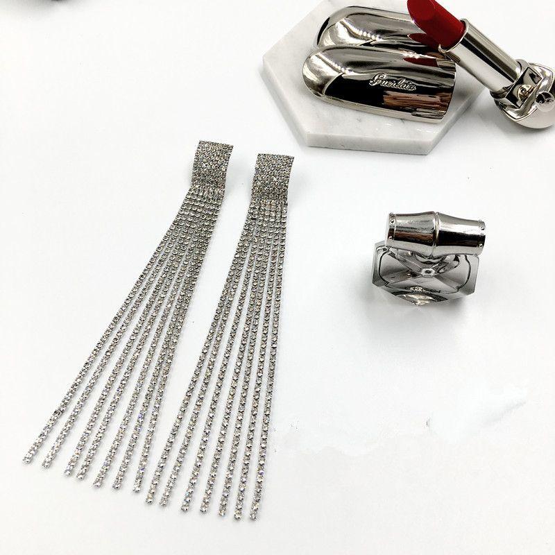 New Brand Claw Crystal Stud earrings for women Fashion Jewelry 2017 Rhinestone Chains Tassel pendant earring Gold brincos Punk bijoux