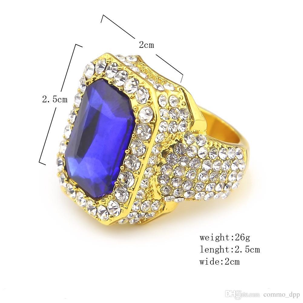 Grandi anelli di sapphire rubino da uomo di alta qualità anelli bianchi strass i Gem Gem Gold Anelli Womenladies Hip Hop Jewelry