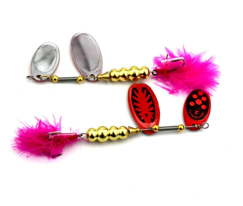 Wholesale Metal Spoons Bait 9cm 14g Spinner Fishing lure Two Blades sequins Rotate Spinnerbaits with Red feather hooks