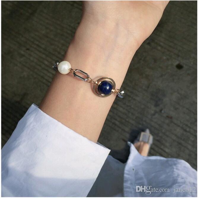 Oro Plata Color de la mezcla Diseño de metal Perla de imitación Piedra azul Do Old Simple Vintage Coreano Pulsera de cadena Joyería para niña