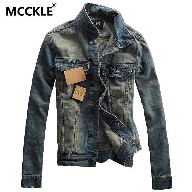 Wholesale- Vintage Mens Ripped Denim Jacket Brand Designer Fashion Washed  Slim Fit Jean Jackets For Man Turn Down Collar Casual Veste Homme Fitted  Jean ... dcf5efc54aa3