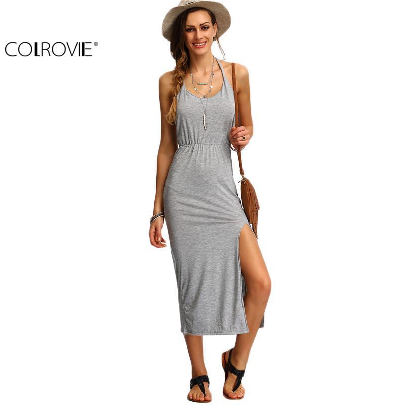849ef5b9382 Wholesale- COLROVIE Halter Sleeveless Backless Side Split Sheath Long Beach  Ladies Cotton Dresses 2016 Summer Dress Dress Long Sleeve Tunic Dress Dress  ...