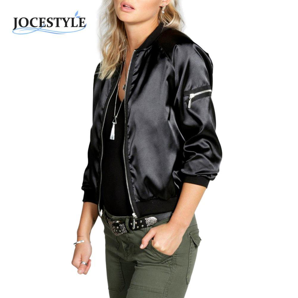 ce37efcc6360c Wholesale Womens Jacket Ladies Classic Padded Bomber Jacket Vintage Zip Up  Biker Coat Brand Stylis Casual Stand Collar Slim Fit Outerwear Leather  Bomber ...