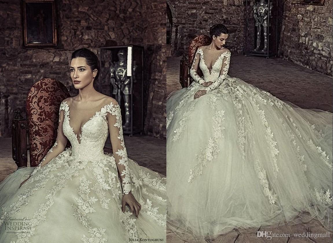 Lace 2017 Julia Kontogruni Arabic Wedding Dresses Long Sleeves Sheer Neck Beaded Bridal Vintage Tulle Gowns Pretty Tea Length