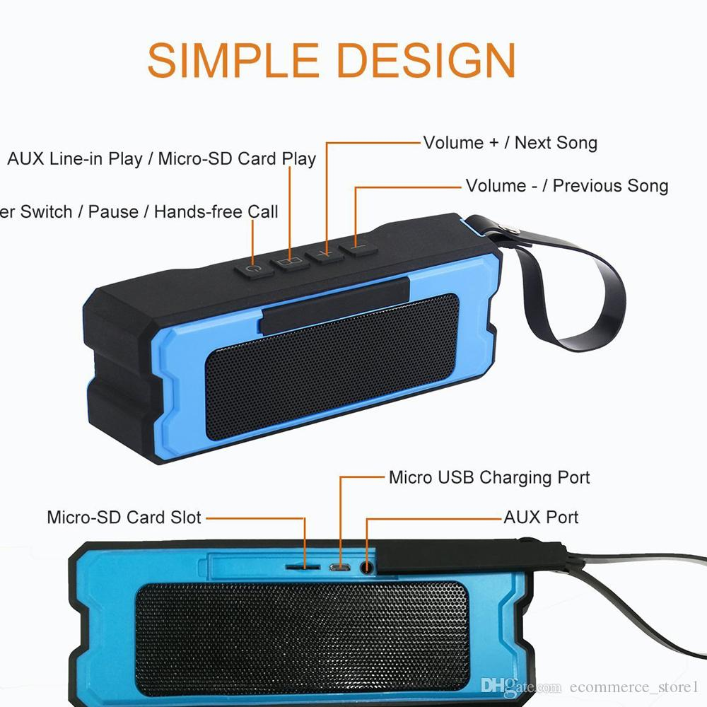 IPX6 2*5W Waterproof Column Speaker Portable Bluetooth Audio Receiver Outdoor Bluetooth Speakers Handsfree Stereo Player For All Cellphones