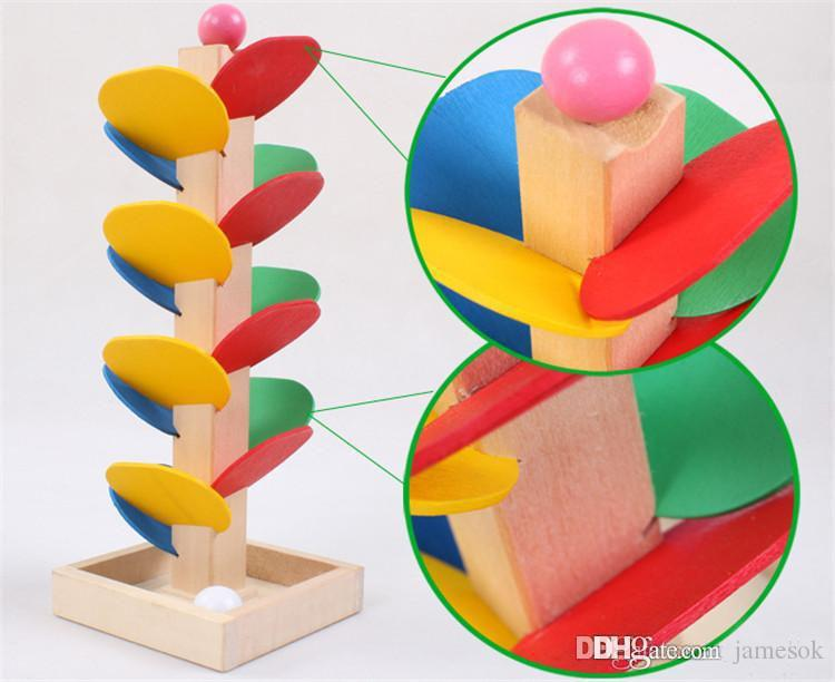 Educational Wooden Toys Building Blocks Tree Marble Ball Run Track Game Baby Kids Toys Intelligence Stuffed Toys For Children C036