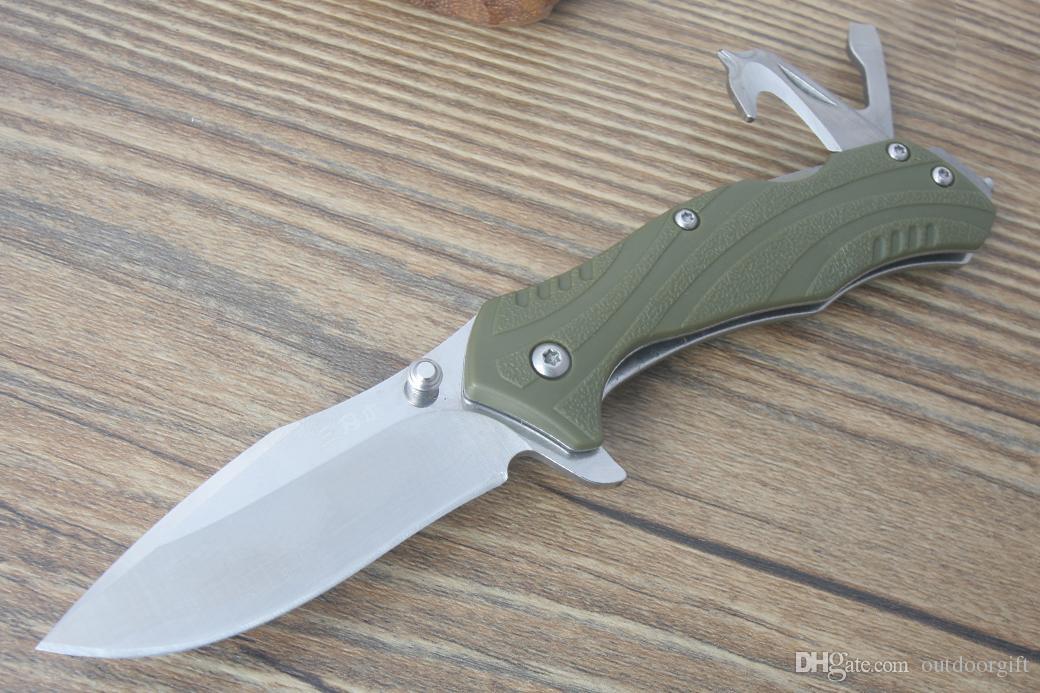 Sanrenmu 7098SUX-PP складной нож 12C27 58hrc лезвие PA66 Зеленая ручка выживания кемпинг охотничий нож открытый снаряжение