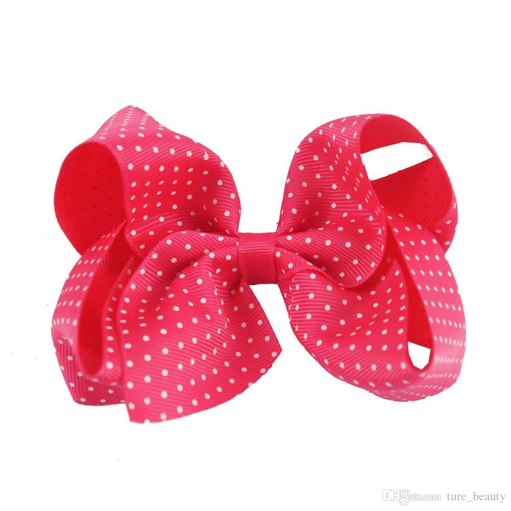 4,5 tums boutique Grosgrain Ribbon Hair Bow Baby White Polka Dots Hårbågar med Clip Girl's Hair Tillbehör 30st /