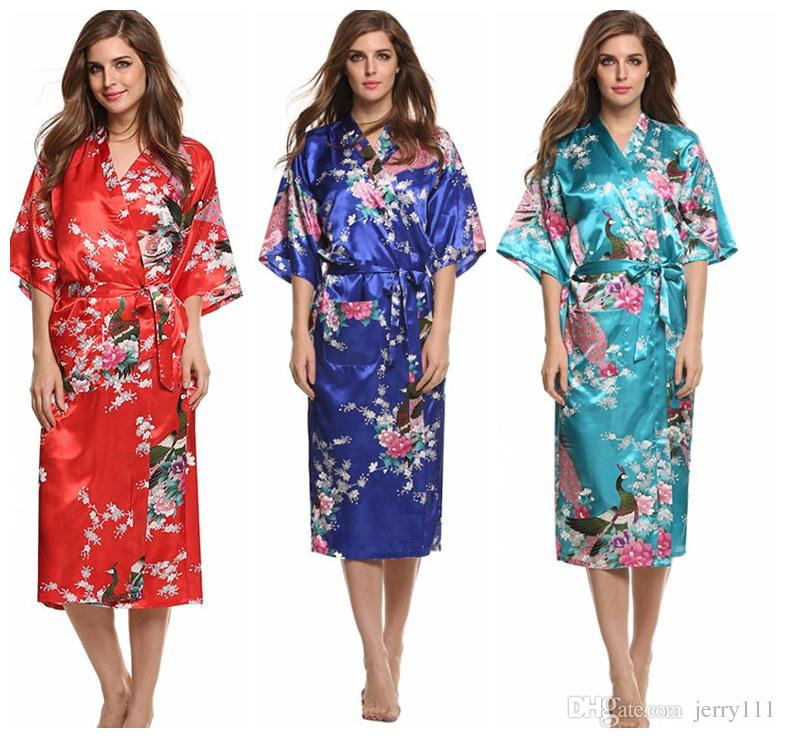 5892dfefb1 2019 Silk Kimono Robe Bathrobe Women Satin Robe Wedding Bridesmaid  Sleepwear Sexy Robes Night Grow For Bridesmaid Summer LC414 1 From  Jerry111