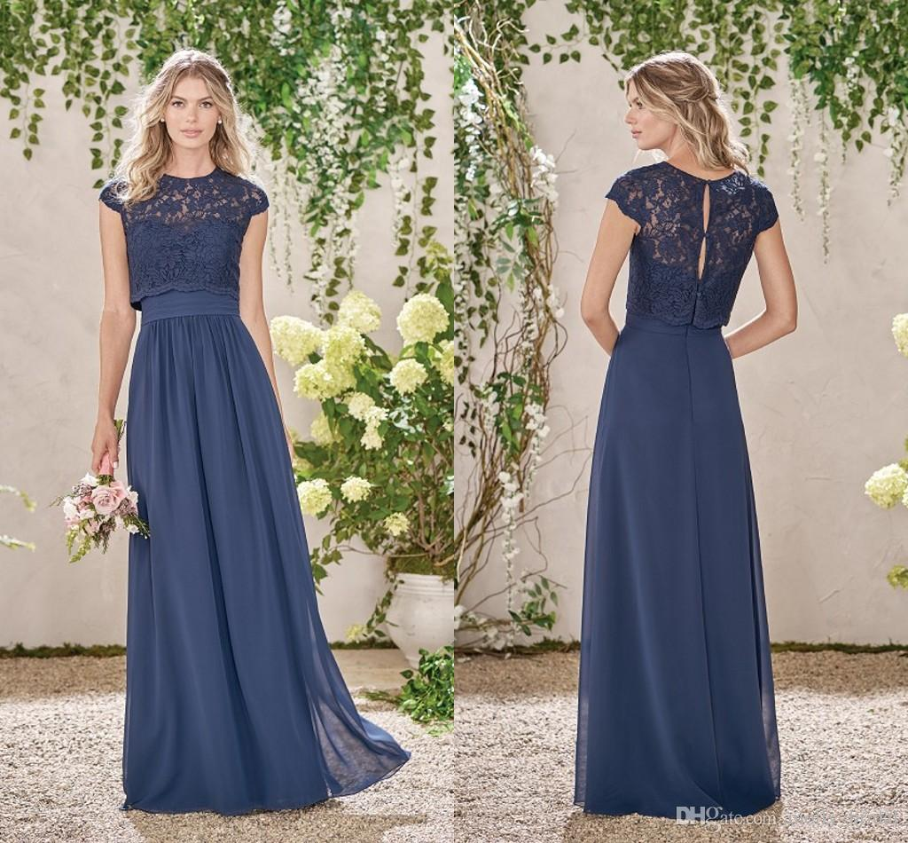 Navy blue two pieces bridesmaids dresses 2017 fashion lace top 5 ombrellifo Gallery