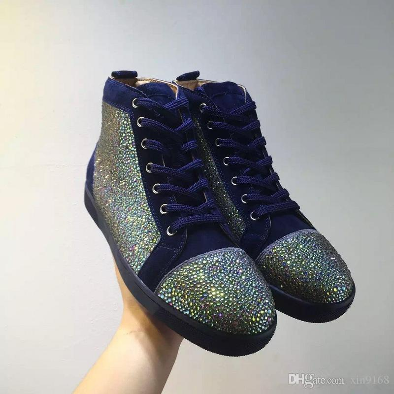 2016 NEW Luxury Brand Party Sneaker Shoes Mens Womens Red Bottom High Top Sneakers Strass Leather Flats With Outdoor Casual Walking Shoes