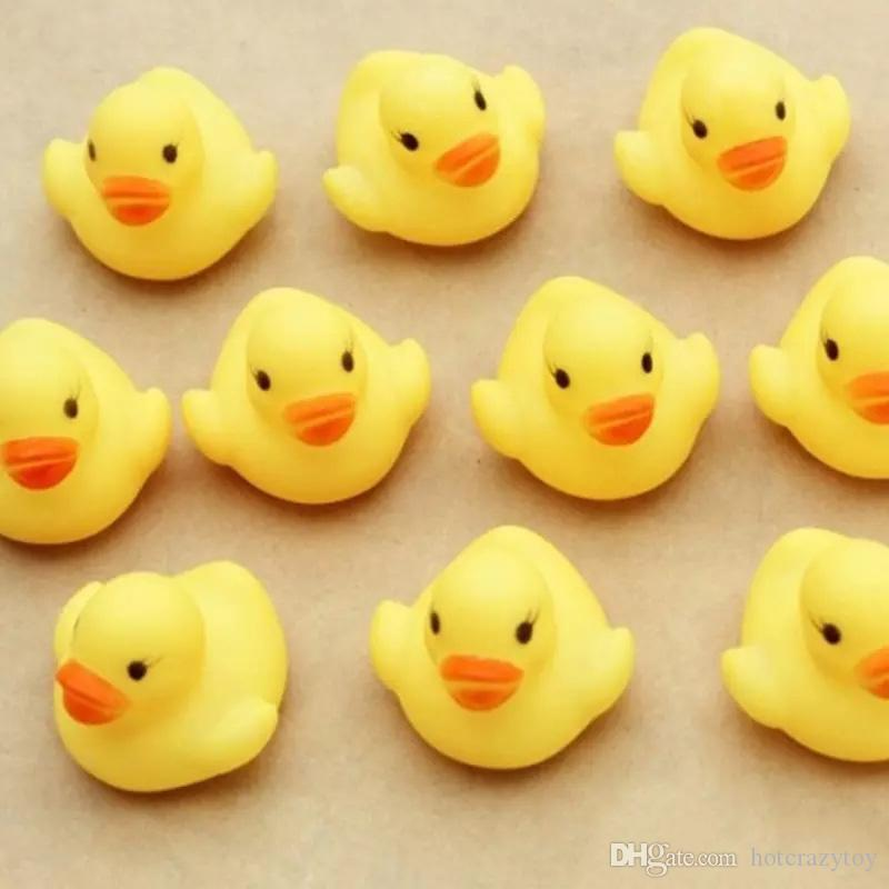 High Quality Baby Bath Water Duck Toy Sounds Mini Yellow Rubber Ducks Kids Bath Small Duck Toy Children Swiming Beach Gifts
