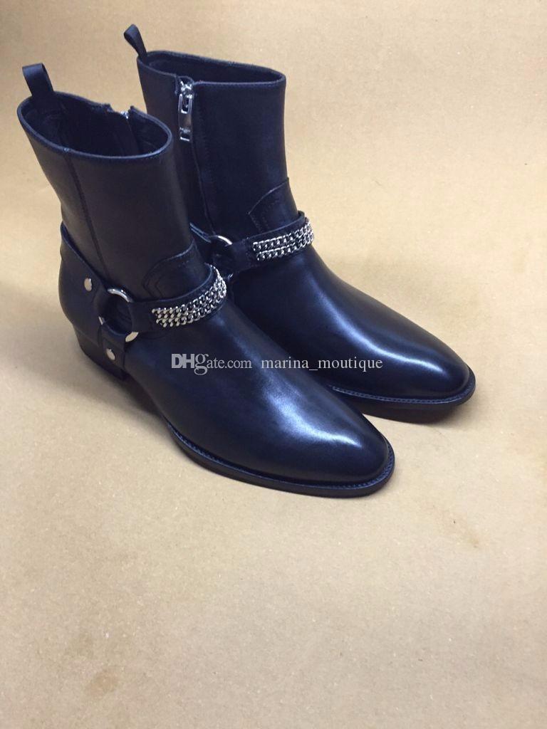خريف الشتاء وايت الأحذية مكدسة كعب الغربية الرجال الأحذية الكامل الحبوب الجلود أعلى جودة T تظهر الكلاسيكية تشيلس مارتن الأحذية
