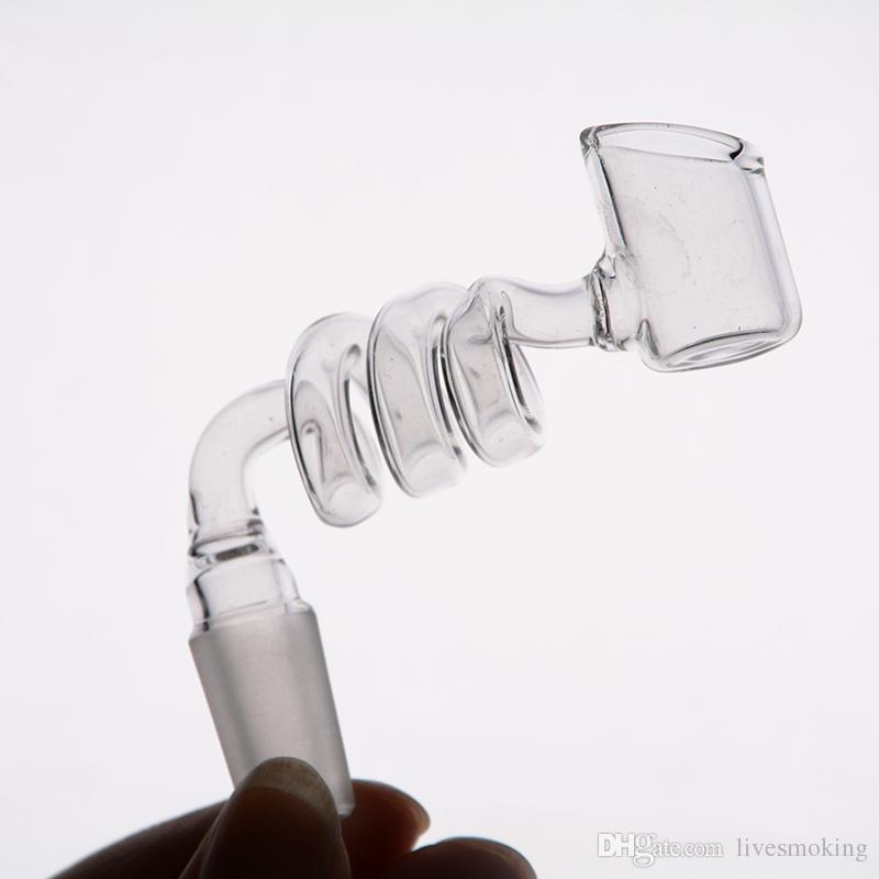 Tubos de agua de vidrio al por mayor en espiral de colores accesorios para fumar cachimbas con plataforma petrolera 14/18 mm conjunto macho