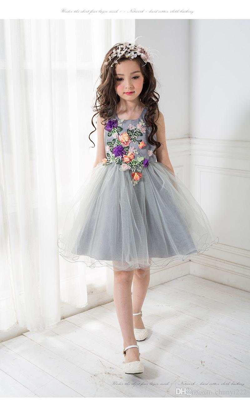 2017 Latest New Middle And Big Children New Gray Pretty Childrenu0027S Dress  Princess Wedding Flower Girl Wedding Lace Dress Or In Show Skirt Summer Dresses  For ...