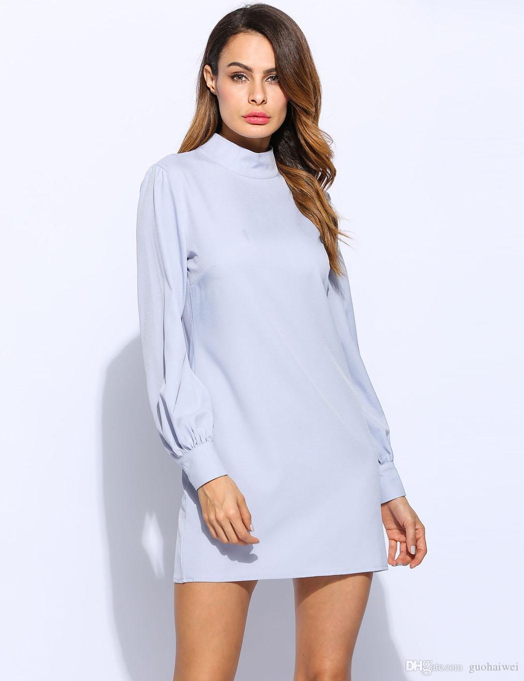 fashion new arrival women's clothing lady Long Puff Sleeve Stand Collar Causal Back Neck Drop Solid Shift Dress Mini dress