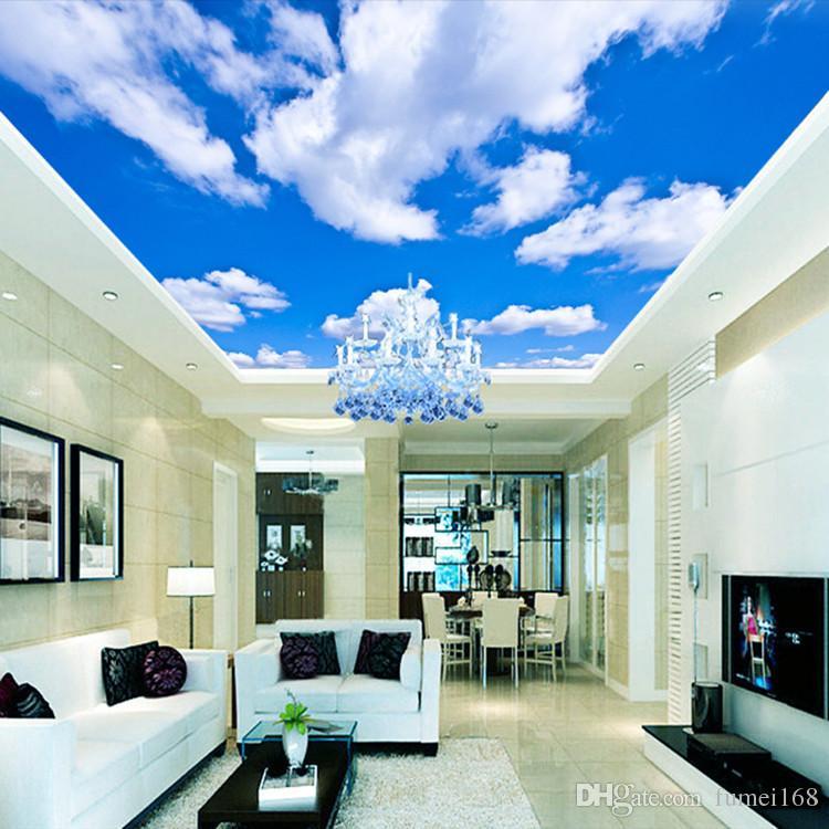 Голубое небо белое облако обои росписи гостиная спальня потолок на крыше 3d обои потолок большой звездное небо обои