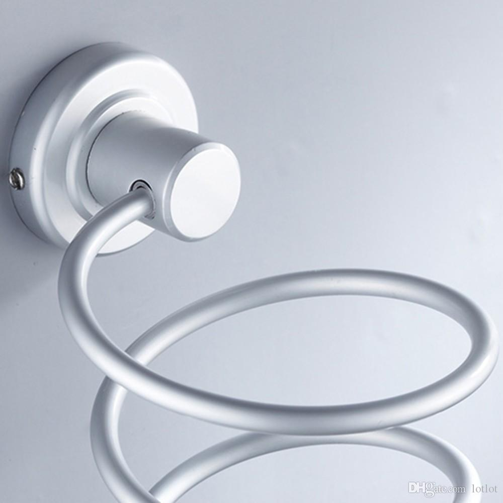 Prateleira De Parede De Alumínio Do Banheiro Fixado Na Parede Secador de Cabelo Rack De Armazenamento Secador de Cabelo Titular Suporte Suporte Espiral