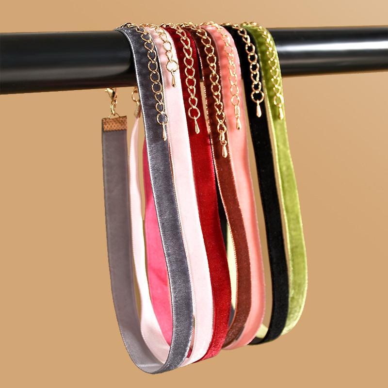 Punk New Fashion 7 Pz / pacco Collana di girocollo in velluto colorato a strisce Collana girocollo in stile retrò ragazze