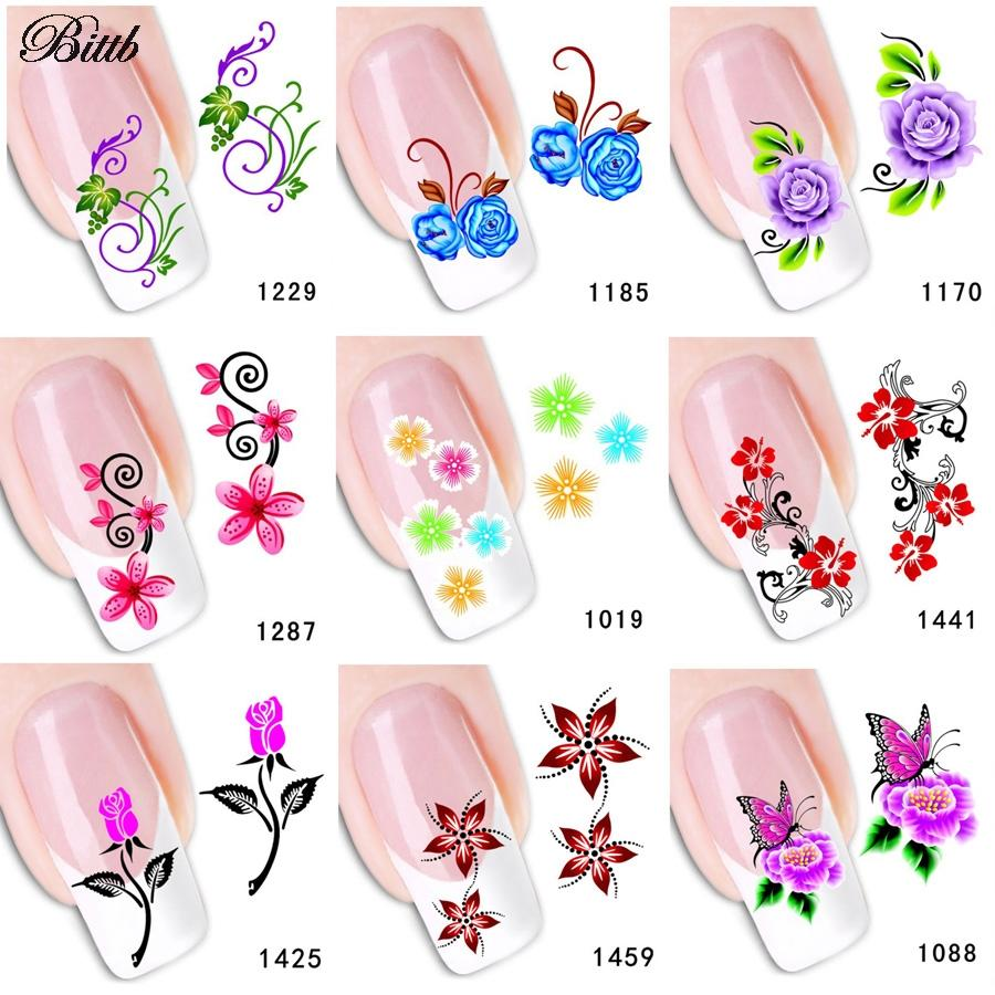 Bittb Flowers Diy Nail Art Sticker Makeup Beauty Water Transfer ...