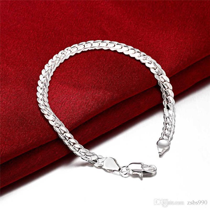 925 pulsera de cadena del encanto de plata para hombres 5 mm * 8 pulgadas regalo de cumpleaños fresco joyería de moda envío gratis 10 unids
