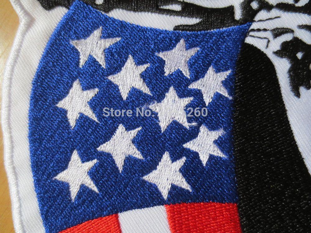 12 pollici bandiera Amercan Ritratto grandi zone del ricamo il rivestimento posteriore Vest Motociclista