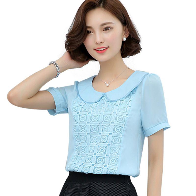 2019 New Women Tops Summer Korean Short Sleeve Chiffon Blouse Peter