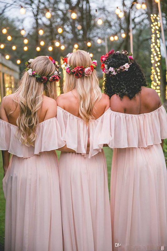 Vintage Country Mumu Bridesmaid Dresses 2019 Modest Off-shoulder Chiffon Elegant Beach Bohemian Junior Maid of Honor Wedding Party Gowns