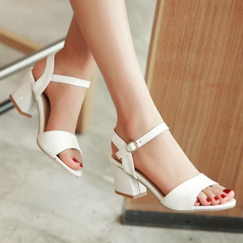 9b41a8c425def Wholesale Meotina Women Sandals 2016 Summer Shoes Sandals Size 9 10 Open  Toe Ladies Chunky High Heels Sandals White Pink Green Shoes 34 43 Red  Wedges Summer ...