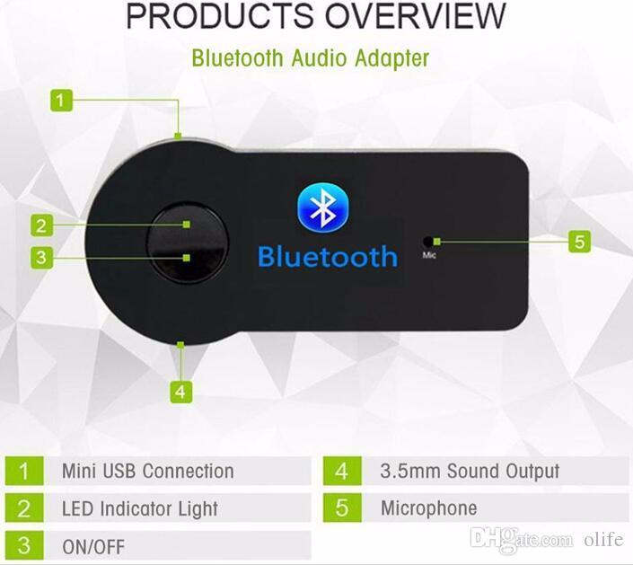 Universel 3.5mm Bluetooth Car Kit A2DP Sans Fil Audio Audio Récepteur Musique Adaptateur Mains Libres avec Micro Pour Téléphone MP3 Retail package DHL