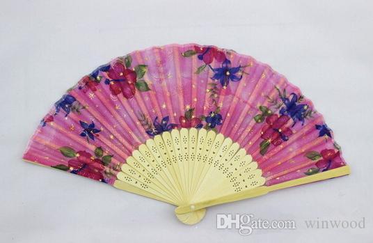 Fans pieghevoli Flower Printing Design a mano Bamboo Ventilatori pieghevoli Festival Eventi Forniture Regali di nozze Bomboniere Artigianato Artigianato Artigianato