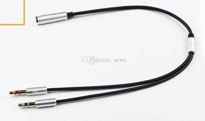 New Combo 3.5mm Audio Converter Plug Mic Y Line Splitter Extension Cable Headphone + Mic Adapter Spot