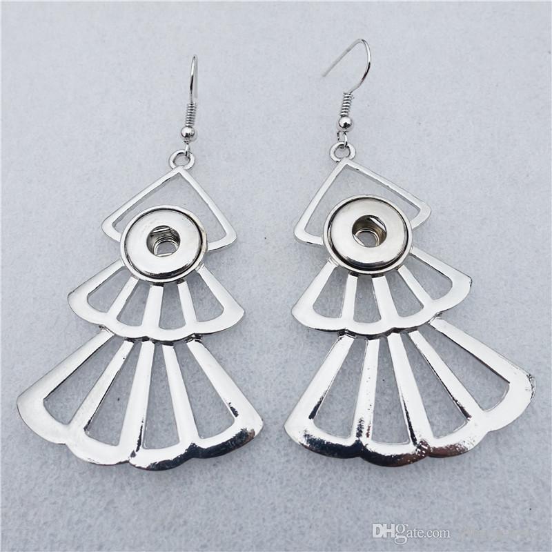 Fashion Noosa Chunks Metal Ginger 12mm Snap Buttons Trendy Fan Shape Earrings Geometri Women Jewelry Wholesale