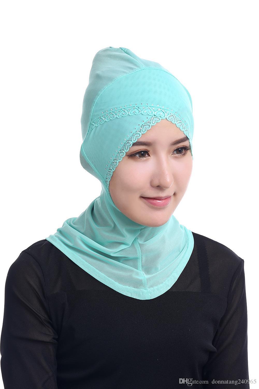 SıCAK Yeni Güzel Müslüman Dantel Trim Örgü Hicap Müslüman Arap Hicap Rahat Giyim Arap Eşarp Kap Şal
