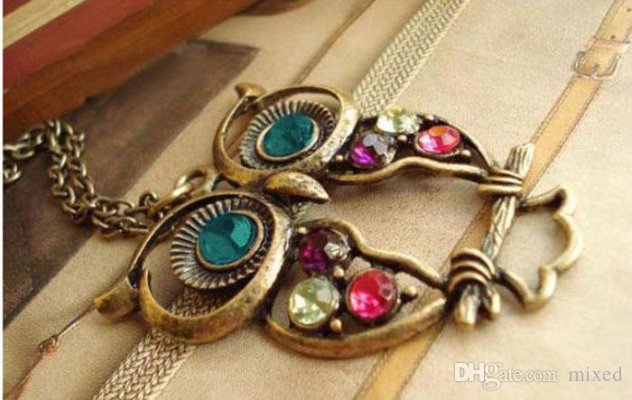 Collana di moda donna collana pendente di cristallo del gufo dell'annata lunga collana a catena donne gioielli animali costume collane regalo