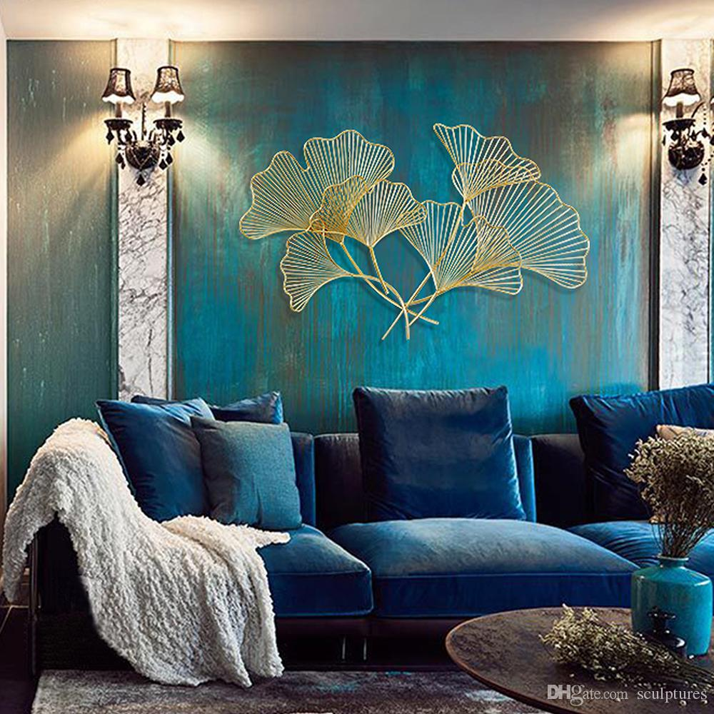 2017 Limited Handmade Asian Metal Wall Art Ginkgo Leaf In Stainless Steel for Living Room Bath Fireplace Indoors And Outdoors