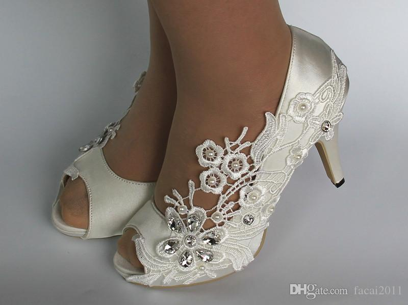 New Cheap white silk lace open toe crystal Wedding Shoes Bridal Custom Made Dance Shoes For Wedding Activity Bridal Shoes