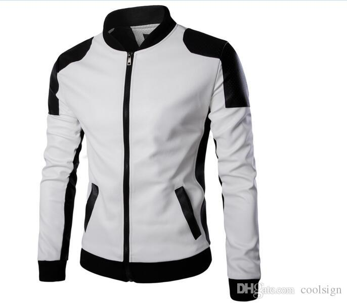 2019 Hot Sales New Pu Leather Jacket Men Black Red Brown Blue Solid