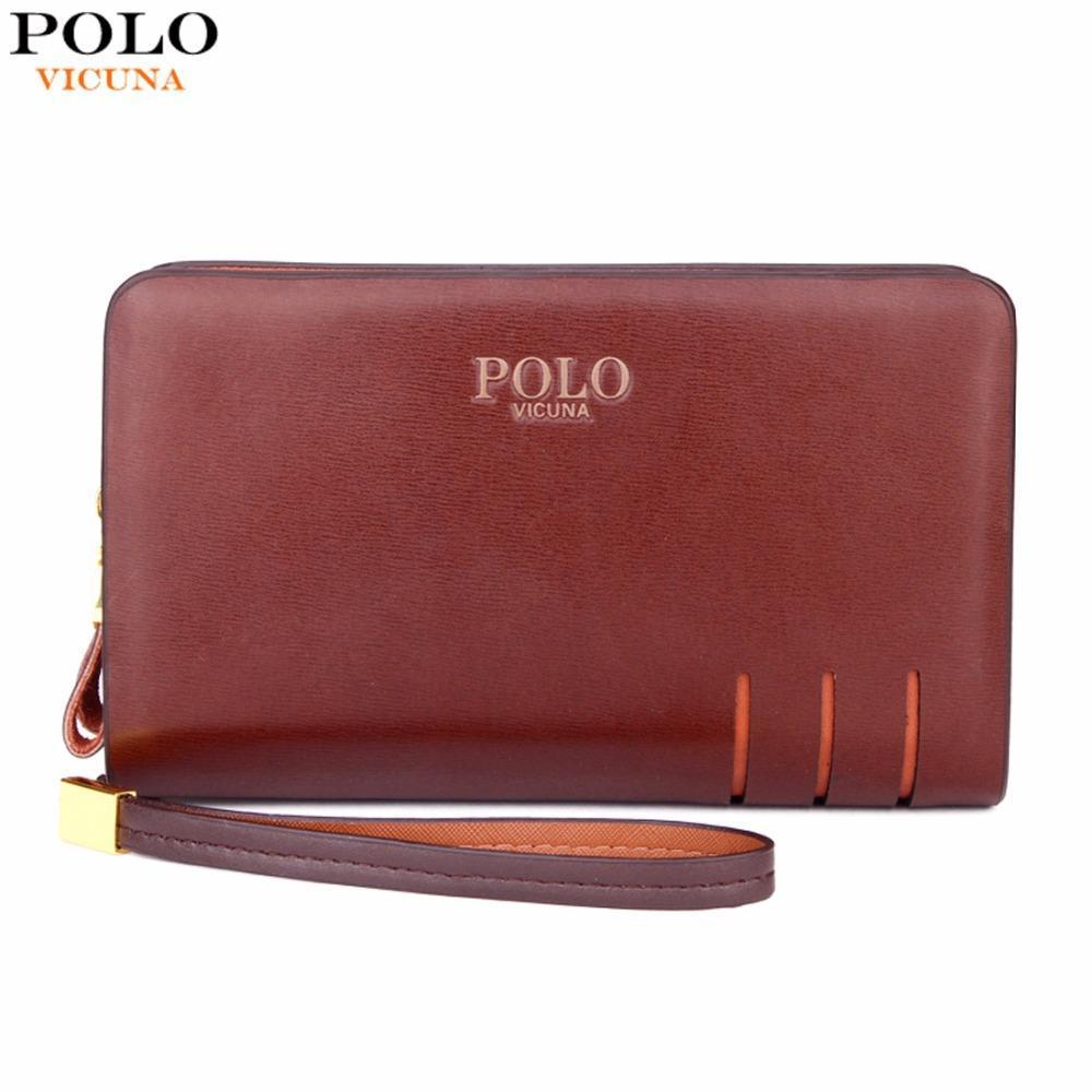 0100717e2 Compre Niza Vicuna Polo Vogue De Alta Calidad De Cuero Para Hombre Cartera  De Embrague Marca Hombres Monedero De Gran Capacidad Marrón / Negro Bolso De  ...