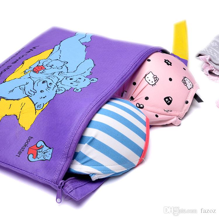 Dust Proof Student Cartoon File Stationery Zippered Bags School Paper Organizer Pouches Travel Home Office Nonwovens Documents Storage Pouch