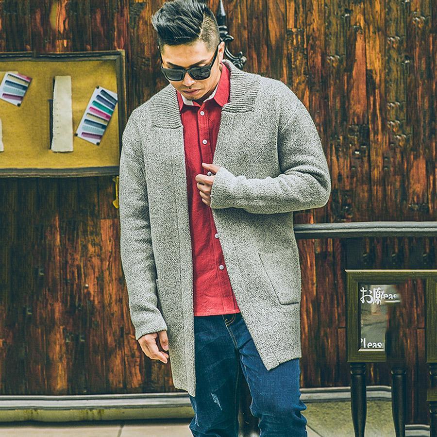 Plusee Hombres Suéter Cardigan Azul Tallas grandes Casual 2017 Primavera Tejido de moda Bolsillo suelto Gris Prendas de punto 4XL 5XL Hombres Suéter