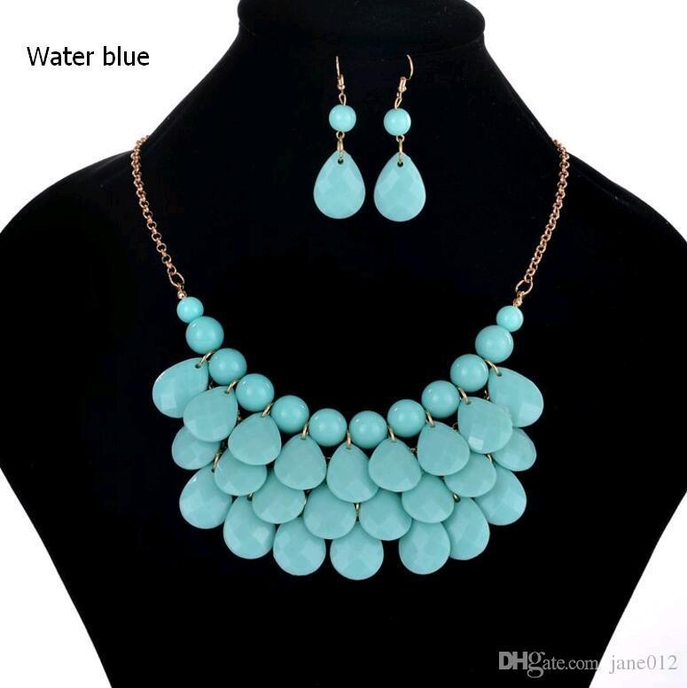 Collar flotante de la burbuja de la moda pendientes del collar del babero de la lágrima declaración conjuntos de la joyería de la playa para las mujeres en venta