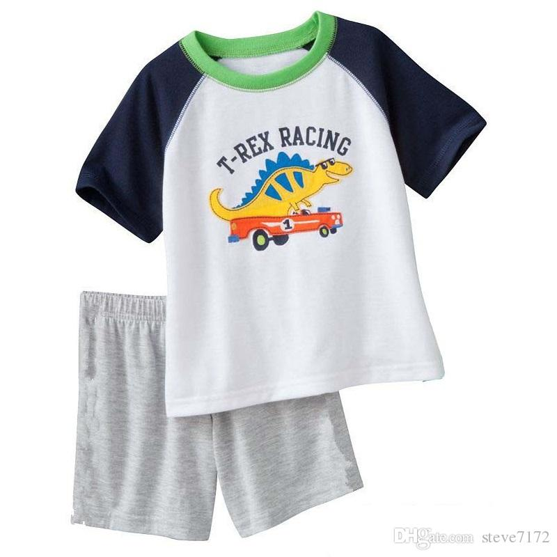 Fire Engine Fashion Baby Pajamas Clothes Suit Summer Boys Short Sleeve T-Shirts Pants 100% Cotton Toddler Sleepwear PJ'S Top Quality