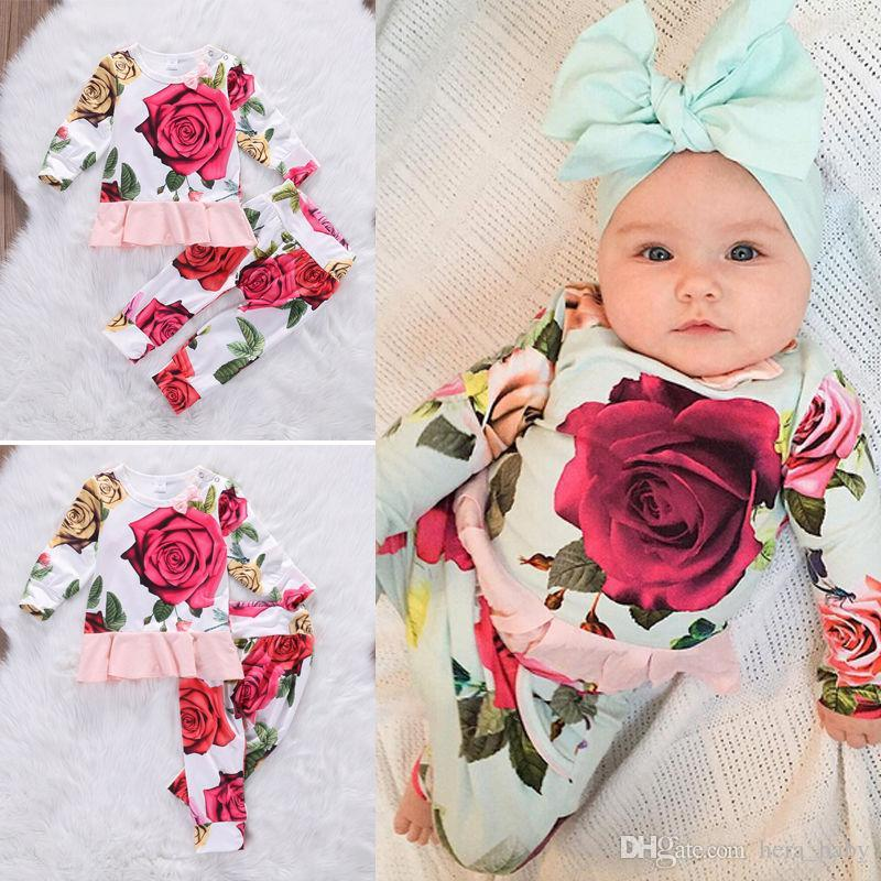 2018 2017 baby flower girl suits newborn toddler kids girls outfits clothes o neck long sleeve t shirt top dress pants sweet girls top set from hera baby