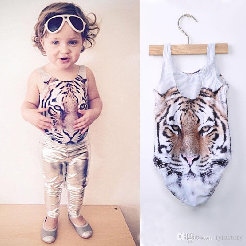 Children swimsuit girls swimwear one-piece swimsuit baby girls kids clothing 3D tiger print bikini fashion summer clothes 2017 Age 2-7T
