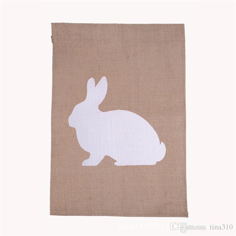 Bandera del jardín de arpillera 31 * 46 cm volantes de yute DIY bandera de lino colgando bandera de la casa decoración de la bandera portátil 4 estilos IB541