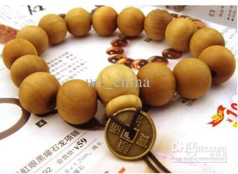 Good wood bracelets Sandalwood with old coins rosary prayer beads religious bracelets