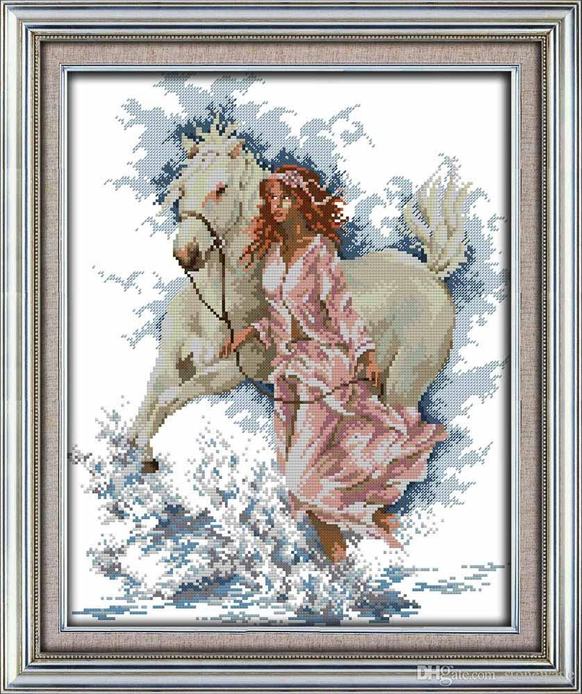 The Girl Walk With Her Horse Western Decor Painting Counted Printed On Canvas DMC 11CT 14CT Kits Cross Stitch Embroidery Needlework Sets Lady